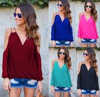 uzun sırt gevşek bluzlar toptan satış-Yeni Soğuk Omuz Şifon Bluz Çapraz Geri Uzun Kollu Gevşek Rahat Gömlek Kadın Artı Boyutu Bluzlar Kırmızı Siyah Mavi DYG1102 Tops