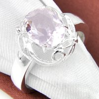 6 PCS / LOT San Valentino Ovale Sweet Pink Topaz Gemstone 925 Argento Sterling placcato Weddiing Anello