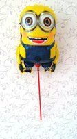 Wholesale Mylar Stick Balloons - new 20Pcs lot Despicable Me Minions Mylar Balloon within stick&pole one eye Minions balloons air to inflate party supplies