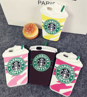 Wholesale Starbucks 4s - Cartoon Starbucks Soft Silicon Rubber Material Case Cover for iPhone 4 4s 5 5s 6 6s Plus