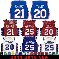 Wholesale Adult Jerseys - 2017-18 New 20 Markelle Fultz 21 Joel Embiid Jersey 2018 Men's 25 Ben Simmons Jerseys Red Adult Embroidery and 100% Stitched