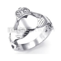 Wholesale Wholesale Claddagh - Teboer Jewelry 3pcs Stainless Steel Ring Claddagh Heart Crown Knot Band MER221