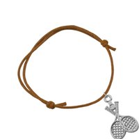 Wholesale Rope Racket - Wholesale Zinc Alloy 30psc lot Wax String Chain Tennis Racket Sporty Jewelry Bracelets Custom Rope Elastic Bracelet