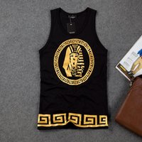 Wholesale top tanks for men - Wholesale-Gold Print Hip Hop Tank Top Men 2015 Summer Basketball Tank Tops Sport Top for Men Sleeveless Cotton Last King