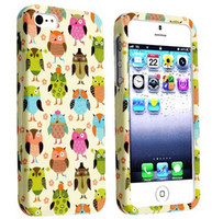 Wholesale Owl Iphone 5c - Wholesale Cute Multiple Owl Design Hard Plastic Mobile Phone Case Cover For iPhone 4 4S 5 5S 5C 6 6plus