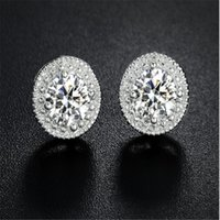 New Fashion 30% Silver White Gold Color Micro Round CZ Crystal Stud Earrings para Mulher Jóias Christams Presentes OP