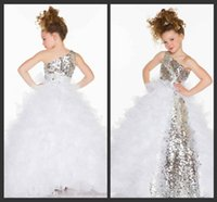 Wholesale Christmas White One Shoulder Dress - 2015 new arrival Flower Girls' Dresses One Shoulder Floor Length princess dresses For Wedding Pageant Dresses Girls Kids Party Prom Gowns