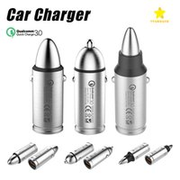 Wholesale Car Charger Model - QC 3.0 Car Charger Stainless Steel Metal Bullet Modelling for iPhone Android Samsung with Retail Package