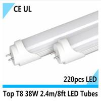 Wholesale T8 38w Lamp - High Brightness led t8 2.4m tube 2400mm t8 fluorescent tube 38w 220pcs LED chip indoor light Cool white led lamp 12 pcs lot CE UL