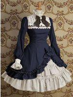 Wholesale Gothic Lolita Punk - Wholesale-Gothic Punk Cotton Two-Piece Lolita Dress Costumes