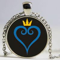 halskette symbol herz großhandel-Kingdom Hearts symbol Kingdom Hearts Lass Cabochon Anhänger Schmuck Halskette