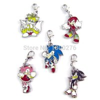 Wholesale Sonic Keyring - Cartoon movie tv fashion alloy colorful keyring Sonic metal pendants keychain anime cosplay hang buckle Z711