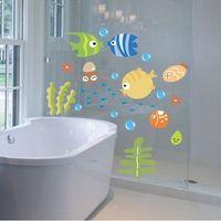 рыбные наклейки для детей ванная комната оптовых-Тропические рыбы пузырь стикер стены детская комната детская кухня ванная комната стикер стены Бесплатная доставка, dandys
