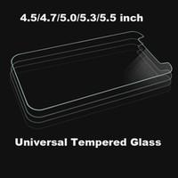 iphone 4.7 5.5 ekran koruyucusu toptan satış-Evrensel 4.5 4.7 5.0 5.3 5.5 inç Premium Gerçek Temperli Cam Filmi Ekran Koruyucu Için ALCATEL WIKO iPhone