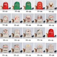 Wholesale christmas decorations for sale - 2019 Christmas Gift Bags Large Organic Heavy Canvas Bag Santa Sack Drawstring Bag With Reindeers Santa Claus Sack Bags for kids