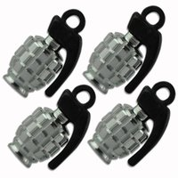 EG5804 4PCS METAL GRENADE CONCEPTION VOITURE MOTO BIKE TIRE PNEU VALVE DUST CAPS SILVER