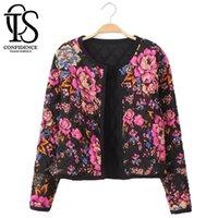 Wholesale Beige Women Short Coats - 2015 Spring Autumn Women Jacket Short Design Vintage Floral Printed Jackets Women Long Sleeve Coat Plus Size Casaco Feminino