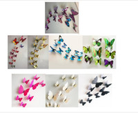 Wholesale Wall Stickers Planes - 3D Butterfly Wall Stickers Decor Art Decorations Green Yellow Blue Pink