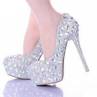 bombas de baile de diamantes al por mayor-AB Crystal Diamond exquisitos zapatos de boda espumosos diamantes de imitación artesanales zapatos de novia delgadas talón de noche fiesta de graduación bombas de las mujeres