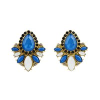 Wholesale Big Fashionable Earrings - Designer Jewelry Fashionable Gold Color Blue Big Imitation Gemstone Earring for Women