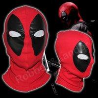 mascara hombre cuero completo al por mayor-Al por mayor-PU Leather Deadpool Máscaras Superhero Balaclava Halloween Cosplay Disfraz X-men Sombreros Arrow Party Neck Headgear Hood Full Face Mask