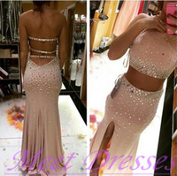 Discount pleat fabric - Two Pieces Party Dreses Formal Crystal Evening Dresses 2015 Formal Prom Gowns Beading Split Sheath Halter Neck Floor Length Chiffon Fabric