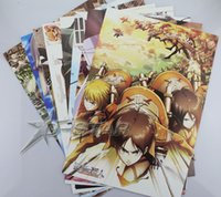Wholesale Graphics Posters - Wholesale- 8pcs Attack on Titan Anime Fashion High Quality Embossing Posters Poster (8pcs per set) Free Shipping