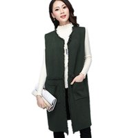Wholesale White Cardigan Sweaters For Women - High Quality Loose Long Knitted Women's Vest With Pocket Tassel Elegant Female Cardigan Sweaters Winter Warm Waistcoat For Women