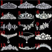 Wholesale Early Crystals - 15 Kinds Hot Selling 2013 Charming Alloy Shining Crown Early Crystals Wedding Bride Tiaras