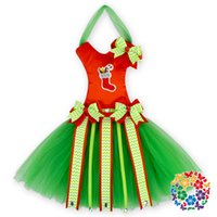 Wholesale hot sale red and gree christmas tutu bow holder for hone decoration or gift
