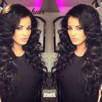 Wholesale brazilian wavy long human hair online - Full Lace Wig Brazilian Remy Human Hair Wigs Body Wave Wavy Hair Wigs Front Lace Wig Bella Hair
