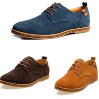 zapatos de vestir oxford de cuero para hombre al por mayor-Nuevo Mens Casual Dress Formal Oxfords Zapatos Wing Tip Suede Leather Flats Lace Up Zapatos de gran tamaño British Fashion Party Dress Shoes ZJ16-S02