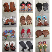 Wholesale beautiful girl mix - Beautiful Mixed Styles African Women Hair Updo AFRO Wooden Lady Girls Earrings Wholesale