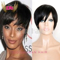 Wholesale Feelings Natural Hair - Pixes Style Human Hair Wigs Rihanna Inspired 130 density 7A human hair wigs Soft feeling natural Color Indian Remy Short wig for black women