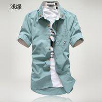 Wholesale White Shirt Button Up - Wholesale-2016 new gradient men denim shirts short sleeve camisa chambray mens dress shirt collar button up men denim shirts chemise