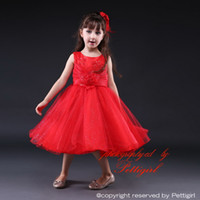 Wholesale Low Price Girls Party Clothes - Pettigirl New Arrival Girls Evening Party Dress Hot Red Flower Christmas Ball Gown Low Price Children Vestidos Baby Clothes GD80905-19