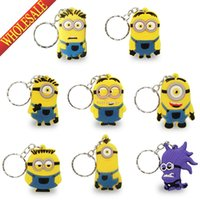 Wholesale Strap Bags For Men - Min Order=20pcs Despicable Me 2D Minions Keychains Key Ring For Wallet Bags with Zipper Cell Phone Charm Strap Party Gift,Key Accessories
