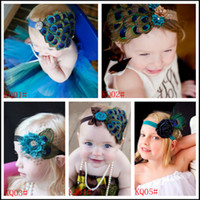 Wholesale Satin Flower Heads - Baby Girls peacock feather Headbands Grace Feather Flower Satin Rhinestone Head Wear Infant Kids Hair Accessories Ornaments Hairbands KHA24