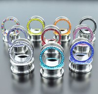 Gros CZ Gem Rim Acier Oreille Chair Tunnels Double Flare Vis Fit Oreille Gauge Plugs 80 pcs / sac SRP001