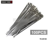 calor de exaustão venda por atacado-TANSKY-100x Exaustão de Aço Inoxidável Calor Laços Envoltório de Metal Tie Extra Longo Grande Grande TK-ZS100