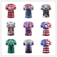 Wholesale Muscle Fake - Wholesale 3d cowboy fake two short-sleeved Europe and the United States large size tattoo muscle men digital printing T-shirt Funny