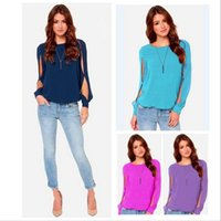 Wholesale Women T Shirt Chiffon - new fashion spring summer autumn chiffon long sleeve plus size body camisetas candy color casual blusas femininas 2016 t shirt women t-shirt