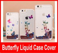Wholesale Cell Phone Crystals Cover - Glitter Butterfly Flowing star Liquid Case Cover For iPhone 5 5S 6 6 plus Hard PC Clear Crystal cell Phone Cases