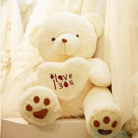Wholesale Valentine Bears For Sale - 1pc 70cm White Giant Size Valentines Day I Love You Big Teddy Bears For Sale Birthday Gift Girlfriend Souvenir