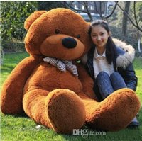 "Wholesale Bear Feet 12 - 2016 Fashion New 6.3 FEET TEDDY BEAR STUFFED LIGHT BROWN GIANT JUMBO 72"" size:160cm birthday gift"