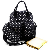 Wholesale Mini Bags For Changes - New Mummy Bag Baby Polka Dot Diaper Bags Backpack Designer for Girls Dads Twins Mom-Insulated Bottle Holders-Changing Pad