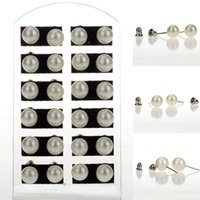 Atacado Bulk 24 Pairs / Card imitação de pérola Ear Stud Earrings para mulheres Party Wedding Jewelry Set 10MM
