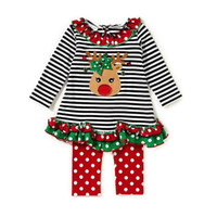 Wholesale baby santa claus suit - Baby Christmas stripe suits Kids Santa Claus Christmas deer ruffle Top+pants 2pcs sets Xmas children Clothing Sets 2 styles B11