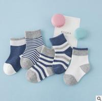 Wholesale Korea Set Girl - Striped Newborn Socks Set Winter Cotton Warm Baby Socks Unisex Boys Girls Ankle Socks Korea Cheap Sock 5 Pair Pack 0-6Y Top Quality
