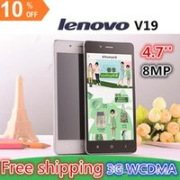 Wholesale Cheap Smart Phones 3g - Cheap sell lenovo V19 phone 3G WCDMA Android 4.4.2 Dual Core 4.7inch 960*540 MTK6572 1GB RAM Dual SIM 8.0MP Camera Smart Phone Free shipping